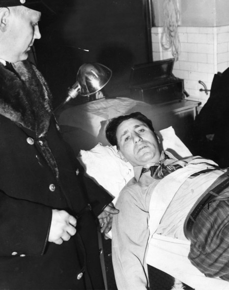 Kasherman after being slugged, 1942, photographed in his hospital bed (Star Tribune)